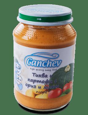 Ганчев Бебешко пюре /Тиква картоф ориз и мляко/ 190 гр.